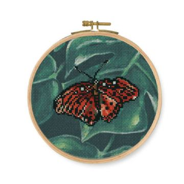 DMC Printed Embroidery Kit- Red Butterfly  BK1788